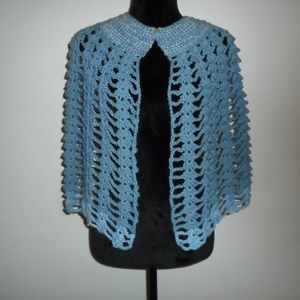 Crochet Cape Denim Blue + Variegated Collar & Trim
